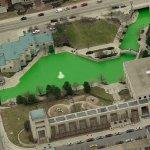 Indiana Central Canal dyed green (Birds Eye)