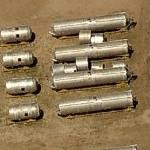 Titan missiles waiting to be scrapped (Birds Eye)