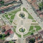 Romanian and Hungarian monuments in the reconciliation park (Birds Eye)