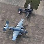"""Special Delivery"" B-25 and SBD-5 (A-24B) at the Lone Star Flight Museum (Birds Eye)"