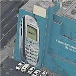 Cell phone ad mural (Birds Eye)