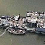 Ship being broken up for scrap