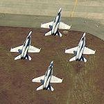 Four F A-18 Hornets Taking Off In Formation (Birds Eye)