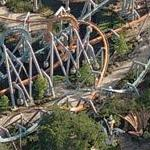 Dueling Dragons Roller Coaster (Birds Eye)