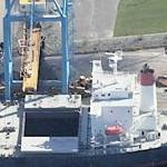 Cargo Ship Being Loaded (Birds Eye)