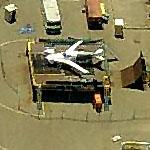 Experimental Plane on Platform at Gillespie Field (Birds Eye)