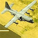 EC-130H 'Compass Call' Departing Williams Gateway Airport (Birds Eye)