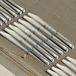 Giant wind turbine blades in transit (Birds Eye)