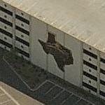 Large map of Texas on the Texas Station parking deck (Birds Eye)