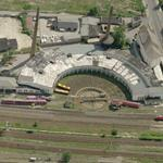 Railroad Roundhouse and turntable (Birds Eye)