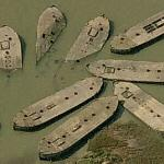 Barges abandoned in the Thames (Birds Eye)