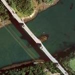 Britannia Bridge - the first box girder bridge (Bing Maps)