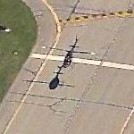 Helicopter in flight at Erie International (Birds Eye)