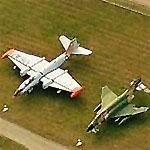 WB-57 and F-4 Phantom on static display at Burlington International (Birds Eye)