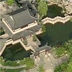 Japanese tea house and gardens in Germany (Birds Eye)