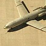 French-made Sud Caravelle leaning to the port at Tuscon International (Birds Eye)
