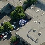 Advertising balloon at company warehouse (Birds Eye)