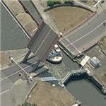 Barge passing under a raised drawbridge (Birds Eye)