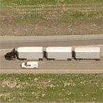Truck Pulling Three Trailers (Birds Eye)