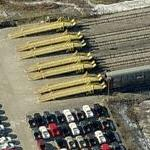 Rail car loading ramps for new cars (Birds Eye)