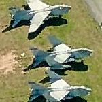 Large squadron of A-7 Corsair IIs in Aberdeen Proving Grounds boneyard (Birds Eye)