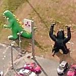King Kong and Godzilla out selling cars (Birds Eye)