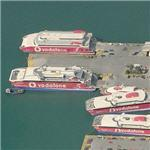 'Vodafone' Ferrys in Pireas Port (Birds Eye)