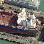 Tanker Navion Anglia in floating drydock