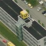 Deutsche Post Logo-Cube at Letter Sorting Centre Chemnitz (Birds Eye)