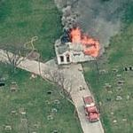 Home fire at Polk Grove Cemetery (Birds Eye)