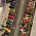 """Fords on Fourth"" car show in progress (Birds Eye)"