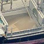 Grain being loaded into a bulk cargo ship (Birds Eye)