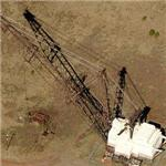 Abandoned dragline excavator used for strip mining (Birds Eye)