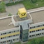 Deutsche Post Logo-Cube at Letter Sorting Centre Berlin-Southwest (Birds Eye)