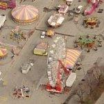 Amusement rides at Belmont Park Racetrack (Birds Eye)
