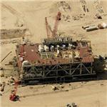 Offshore oil platform under construction (Birds Eye)