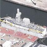Avenger class mine countermeasures ship in drydock (Birds Eye)