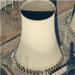 Hyperbolic Cooling tower at coal fired power plant (Birds Eye)