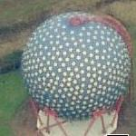 'Der Ball' - Blue gas holder with yellow polka dot (Birds Eye)