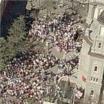 Crowd in front of church (Birds Eye)