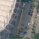 "Demounting the ""AOL Arena"" letters at HSH Nordbank Arena (Birds Eye)"