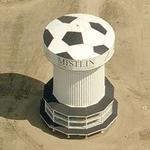 Soccer ball painted on the top of a water tower