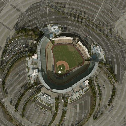 Dodger Stadium in Los Angeles, CA (Google Maps) on