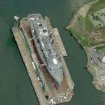 Naval ship on floating dry dock