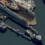 Trawler Moving In Flooded DryDock-Northlake Shipyard (Birds Eye)