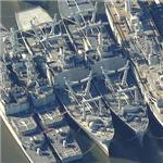 Destroyer Tender, 2 x Amphibious Cargo Ships & 2 x Spruance Class Destroyers (Birds Eye)
