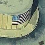 US flag on Kleinhans Music Hall (Birds Eye)