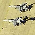 F-18s, one in aggressor paint at Buckley Air National Guard Base (Birds Eye)
