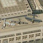 Vintage Aircraft Displayed Atop the Stuttgart Airport Terminal (Birds Eye)