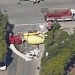 Cement truck rollover in San Francisco (Birds Eye)